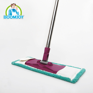 Telescopic handle flat mop plastic frame and cloth for floor cleaning.