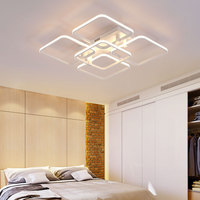 Popular Plastic Frames Square Design Lounge Ceiling Lights With RF Dimmable remote control