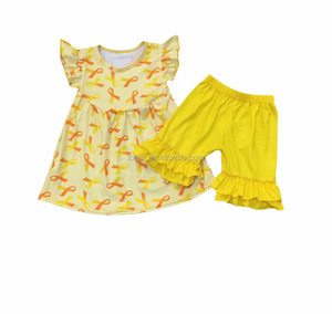 Wholesale summer fashion small yellow fly sleeve suit baby girl suit