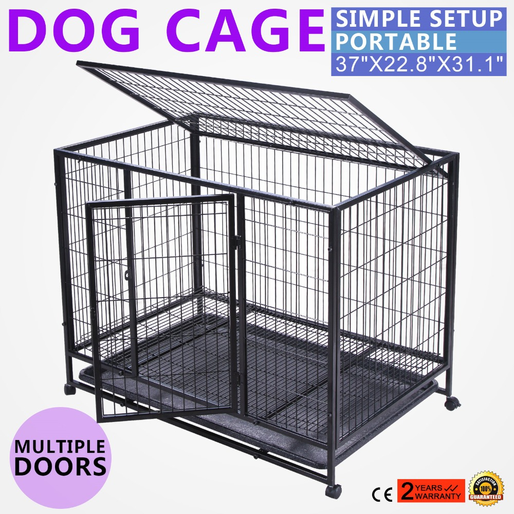"37"" Dog Crate Kennel black Heavy Duty Pet Cage Playpen Tray Pan and Wheels"