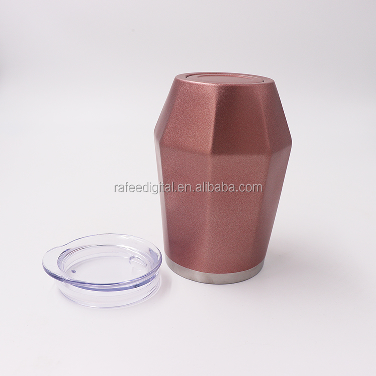 12oz Diamond Shaped Double Wall Vacuum Insulation Stainless Steel Rose Gold Coffee Wine  Cup Mug Tumbler
