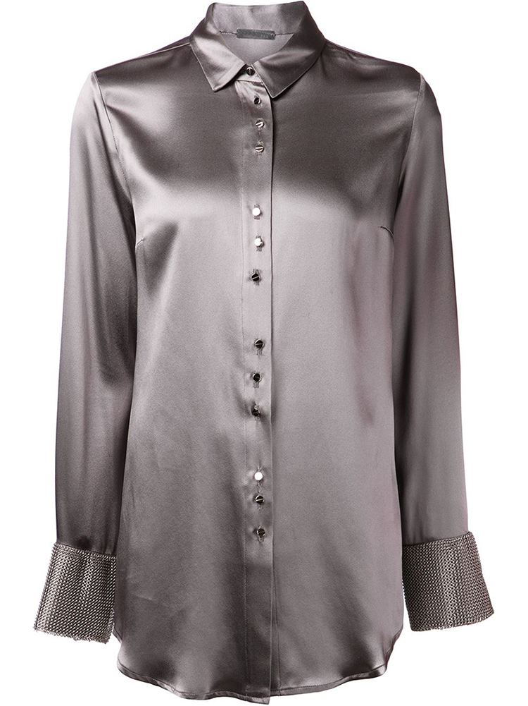 Unique Satin Blouse SXXXL Long Sleeve Button Solid Formal Women Basic Blouse