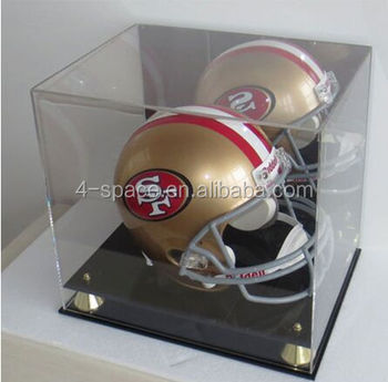Acrylic helmet display box rugby display case with mirror background gold risers