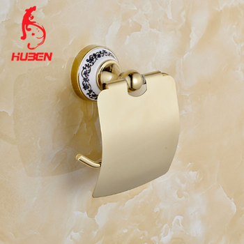 Gold Bathroom Fitting Toilet Paper Holder With Lid