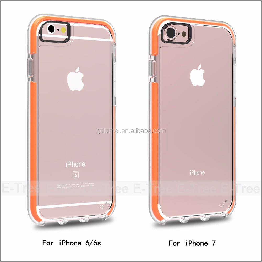 2016New Slim Trending Products for Apple iPhone 6 Soft TPU Bumper + Hard PC Back Hybrid Clear Case, for iPhone7 Cover
