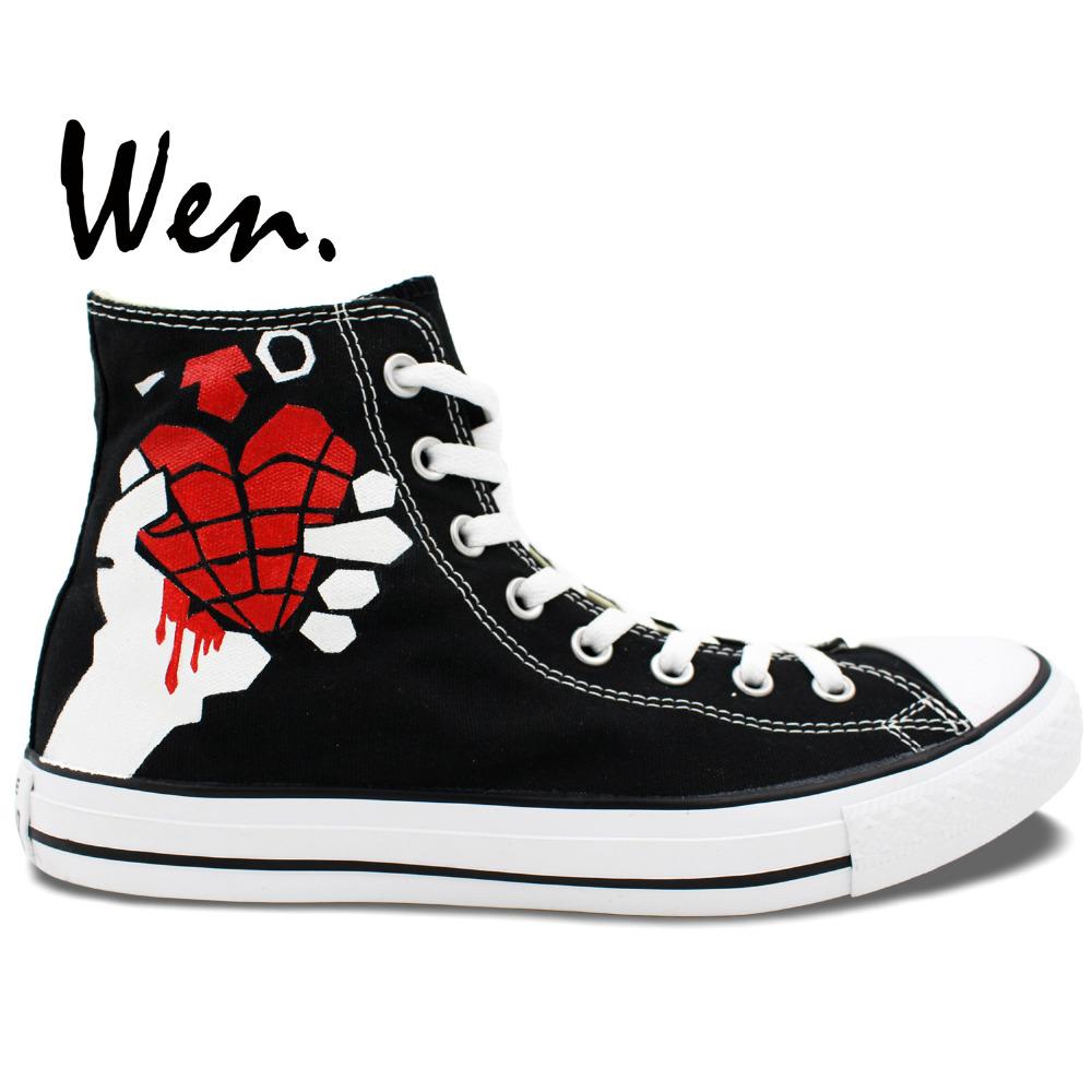 34b88b726684 Wen Original Sneakers Design Custom Hand Painted Shoes Green Day American  Idiot Men Women s High Top Black Canvas Sneakers. 1 order