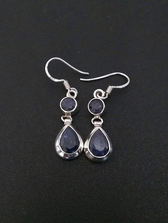 9034306dc Get Quotations · Sapphire Earrings, April Birthstone, Double Gemstone  Earrings, drop earrings, dangle earrings,