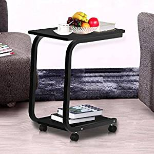 Get Quotations · Yaheetech 2 Tier Portable Wood U Shaped Side Table Living  Room Sofa Side Snack End