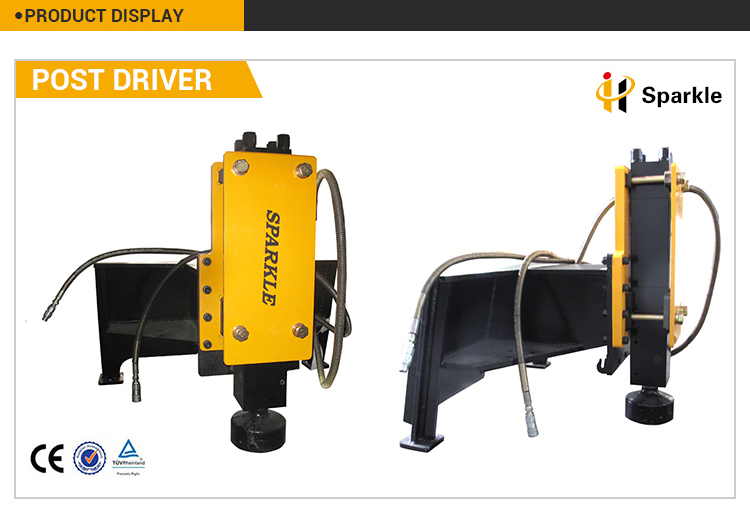 High efficiency hydraulic excavator pile driver for mini skid steer loader