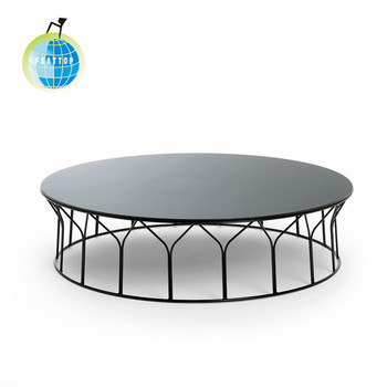 Iron Base Coffee Table,round Metal Wire Side Coffee Table