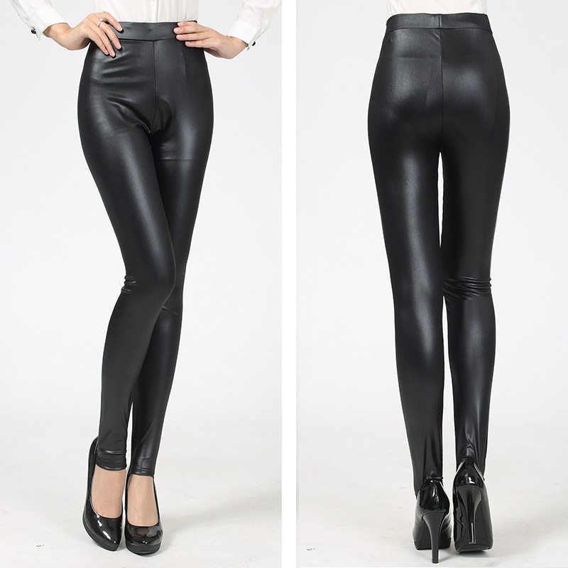 b3929607e75af6 Get Quotations · New Fashion Women Leggings Punk Sexy PU Faux Leather  Gothic Stitching Embroidery Black High Waist Legging