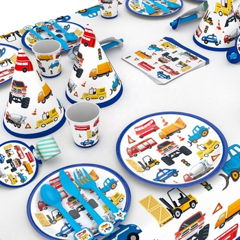Traffic Jam Cars and Trucks Birthday Party Supplies Truck Plates Cups Napkins Straws Tablecloth Birthday Party Decorations