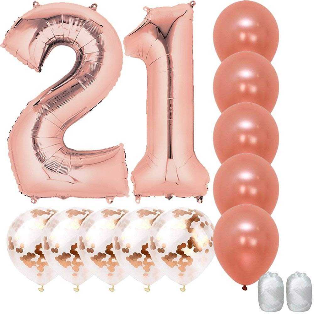get quotations jumbo 40 inch mylar foil rose gold balloon number 21 with 5 confetti balloons and