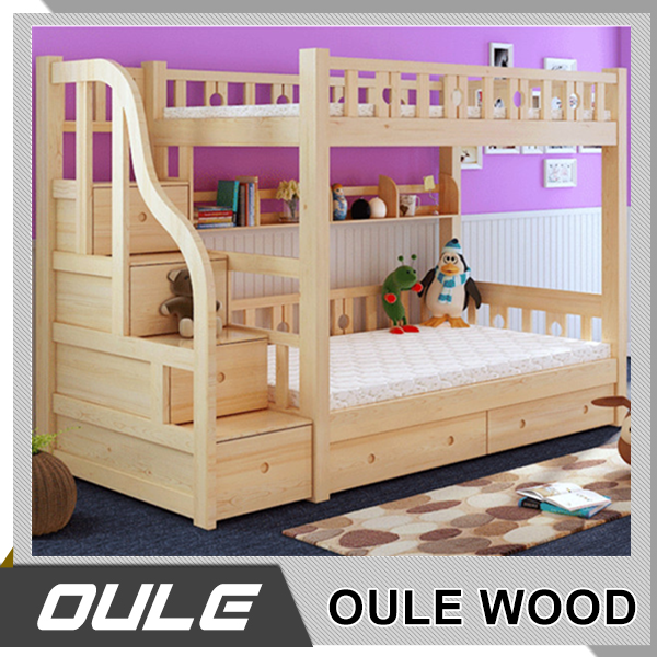 Custom Made MDF Kid Bunk Beds With Stairs Bedroom Furniture