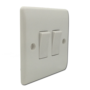 Bakelite material 2 gang 1 way white switch for home