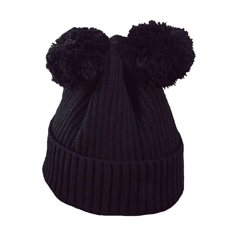 33adafd81c2 Get Quotations · Bling Bling Winter Knit Hat Women Warm Beanie Cap PomPom  Cute wool Headwear Headband Black