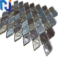 Fish scale waterjet mosaic tile glass leaf mosaic tile