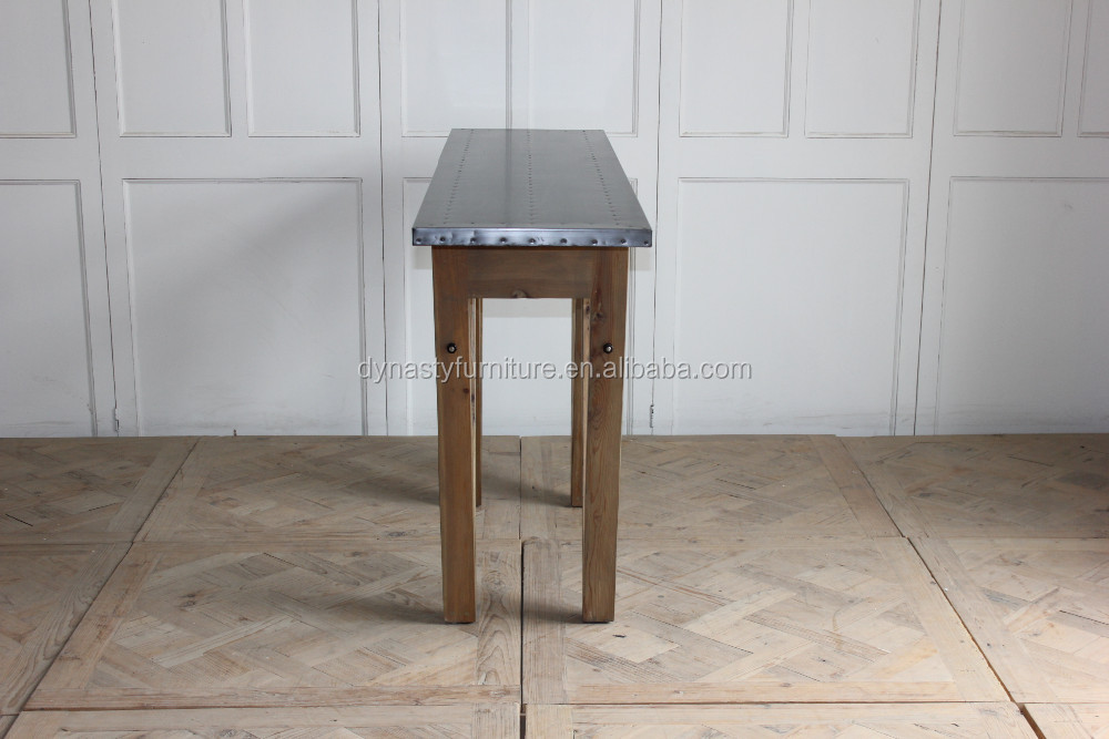 Vintage Furniture Console Table With Zinc Top