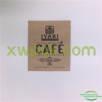 Drip Coffee Filter Bag Package Kraft Paper Flat Pouch