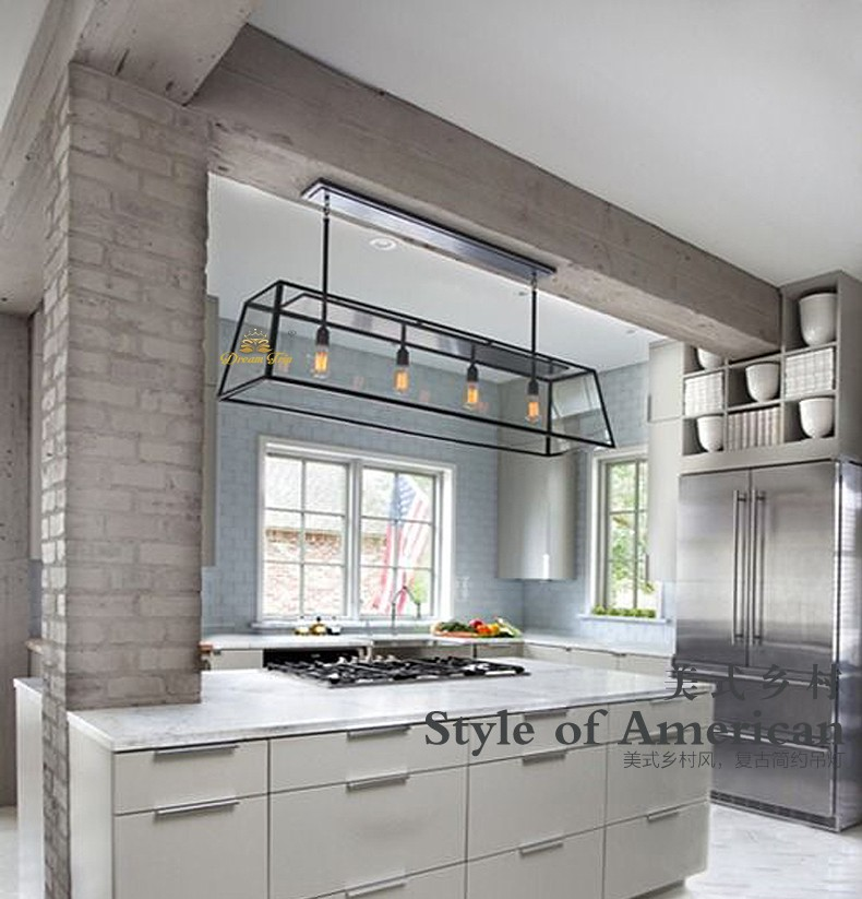 Modern Industrial Wrought Iron And Glass Hanging Rectangle Pendant ...