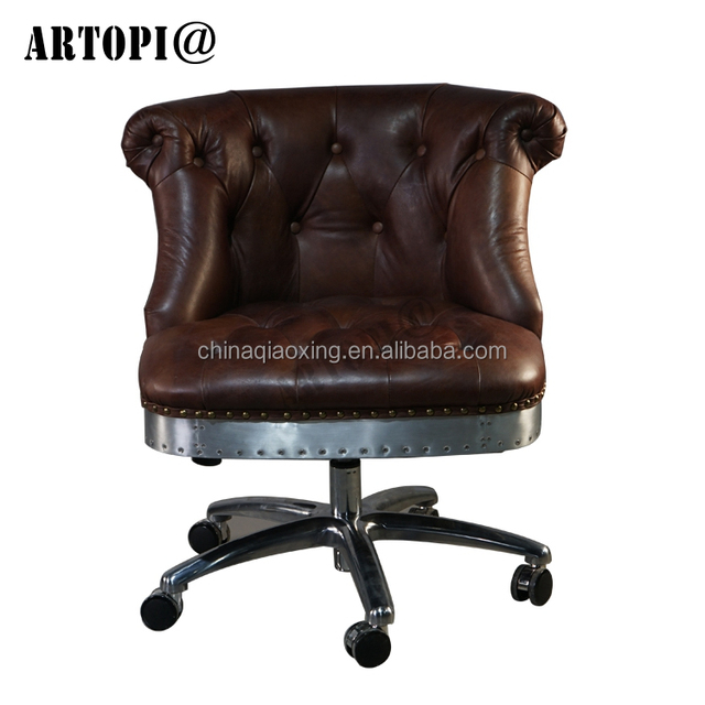 Vintage Style Executive Office Chair Swivel Leather Furniture With Footrest