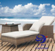 New Outdoor Wicker Sun Lounge Day Bed Wheels Pool Deck Rattan Cane Furniture