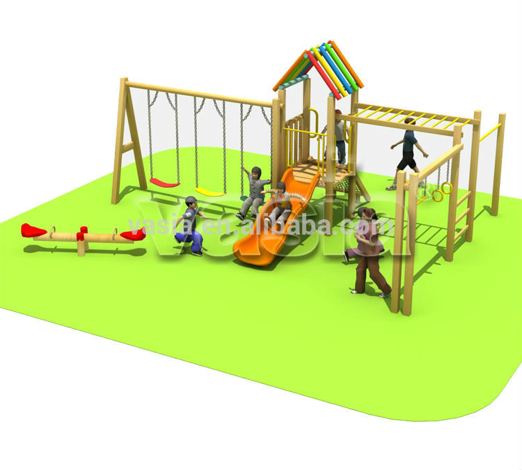 Kids outdoor playground plastic garden swing in playground for outdoor playset