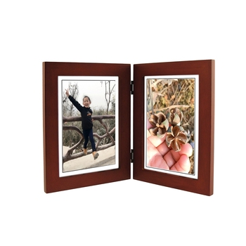 Walnut Classic Wood Picture Frame Double Vertical With Two 5x7in ...