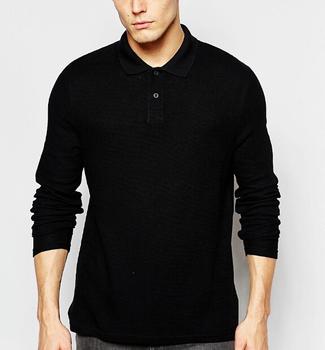7fa80f220ed6 New Arrival Long Sleeve Blank Black Polo Shirt With High Quality ...