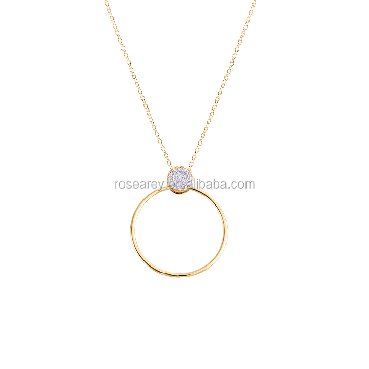 Chain necklace zircon circle and ring gold necklace fashion accessories