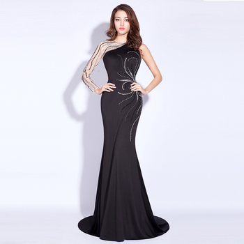 Women Sexy Black Evening Dress Long Sleeve Party Wear Gowns for Ladies Picture Mermaid Prom Dresses