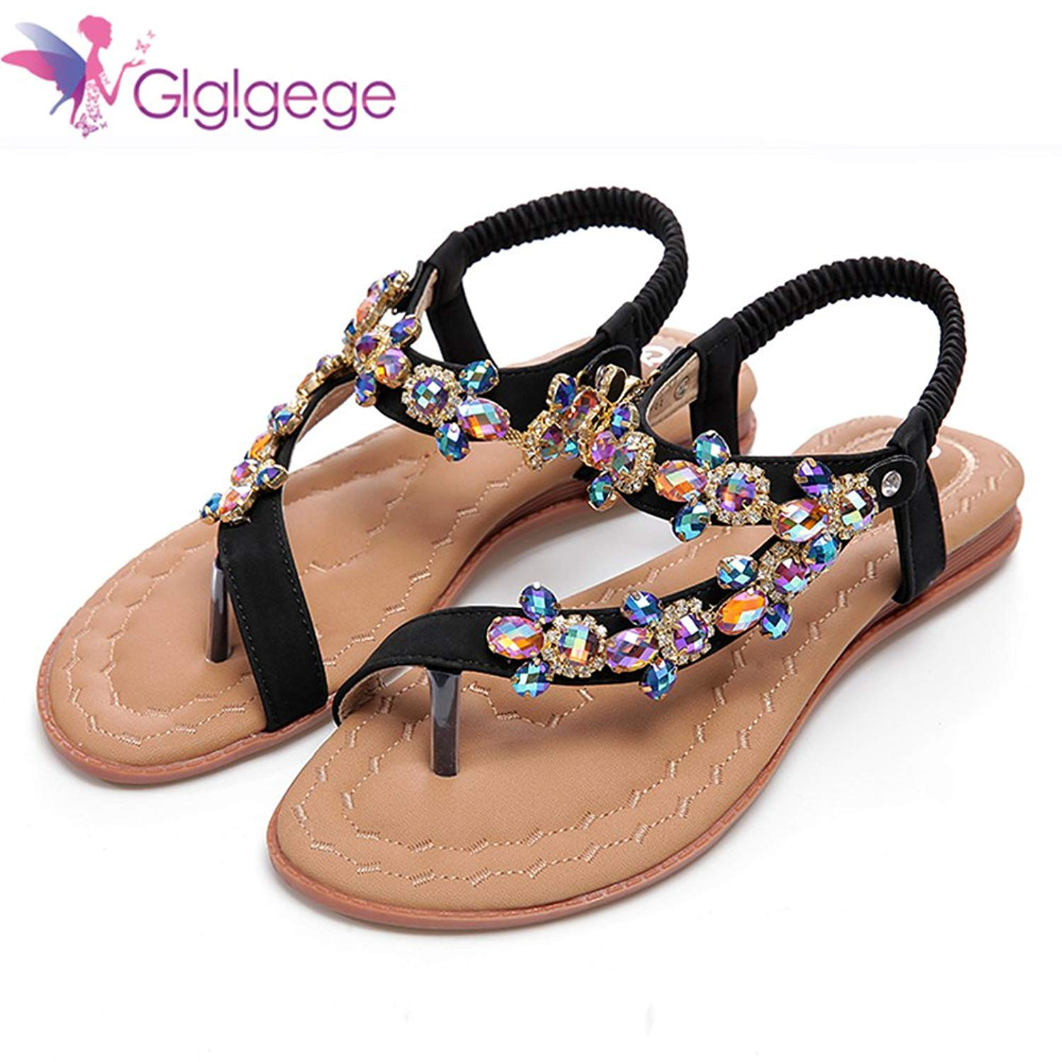 5409631fa5392c Get Quotations · Glglgege Women Sandals Strange Shoes Rhinestones Chains  Thong Spot Women s Shoes Diamond Flat Sandals Large Size