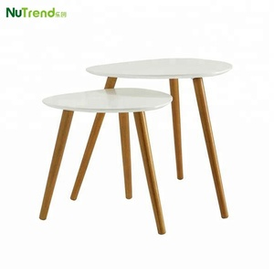 Wood modern sofa side nesting 2 tables