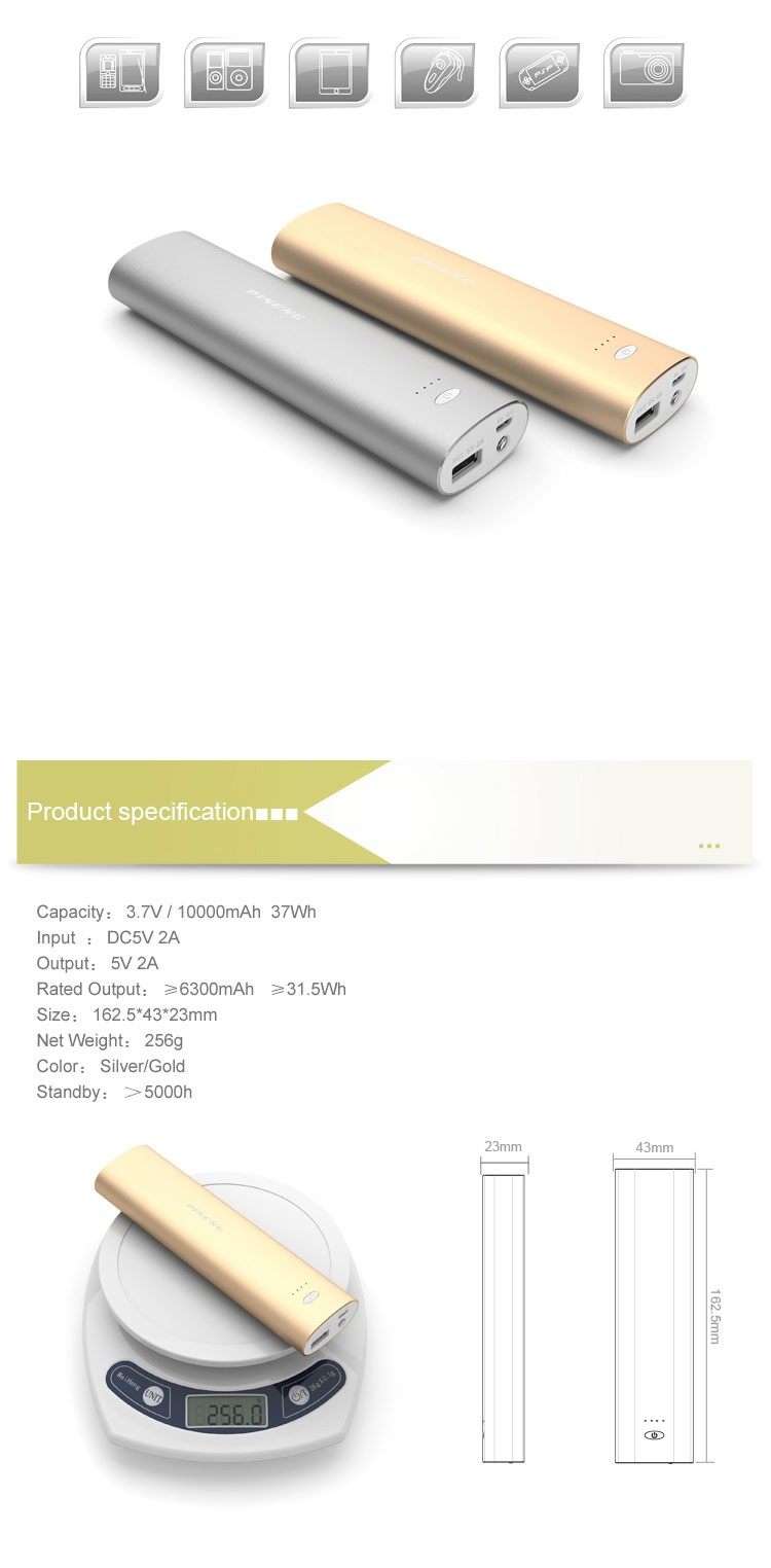 2017 Hot Sale Fashion Power Bank 10000mAh PINENG PN-925