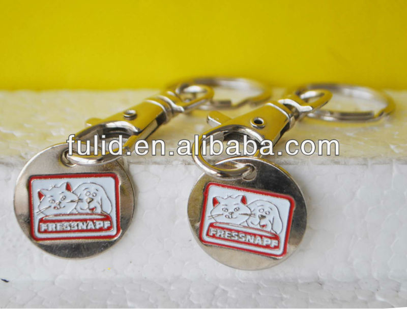 nickel plated iron soft enamel trolley coin keychain, keyholder with metal coin