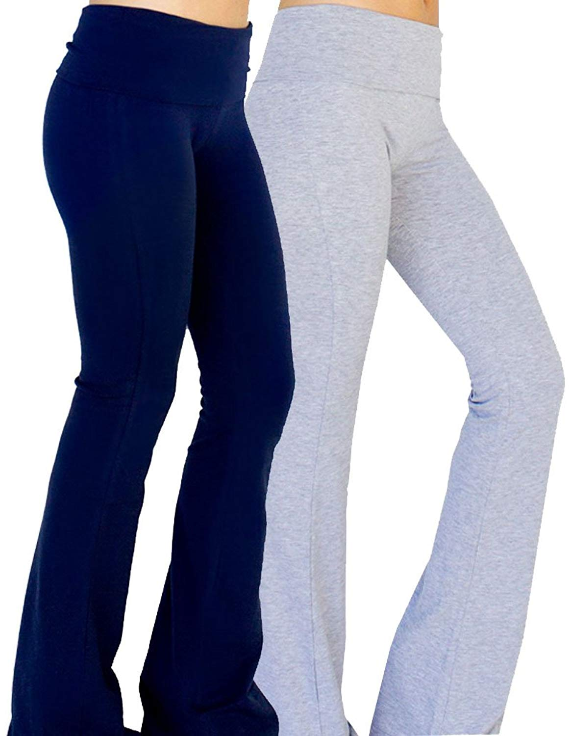 b0a2c6f77ce53 Get Quotations · Solid Foldover Solid Bootleg Flare Yoga Pants (Large, 2  Pack: Heather Grey &