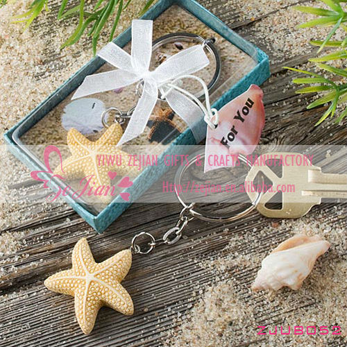 Sea Star Design Keychain Keyring Favors for Unique baby shower wedding favors