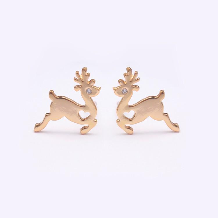 Christmas Earrings Animal Deer Charm Jewelry Simple Gold Earring ...