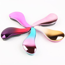 Popular colorful electroplate ergonomic detangling hair brush