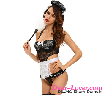 3pcs gold french maid teddy costume naughty womens sexy