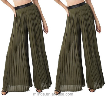 Wide Leg Polyester Pleated Pants Olive Green High Waist Pleated ...