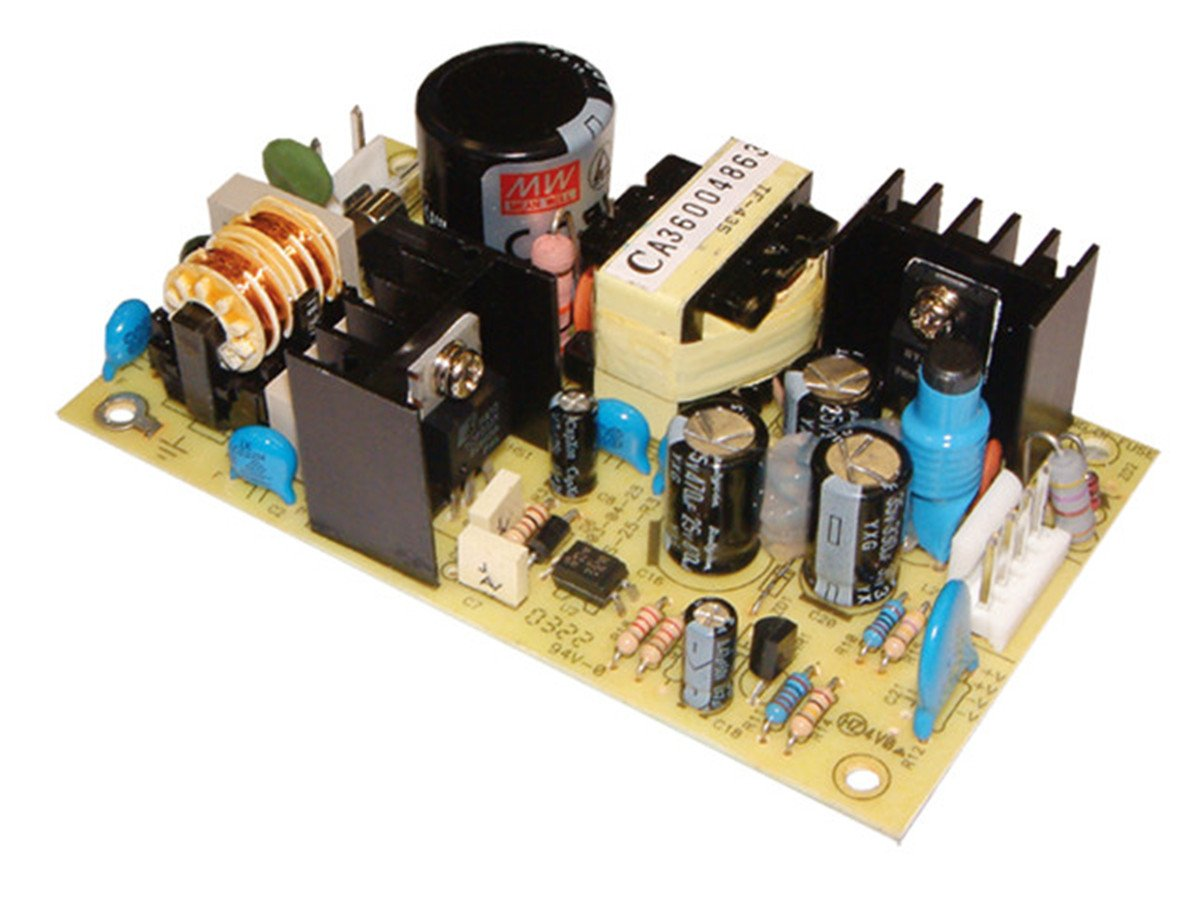 """Mean Well PS-25-12 Open-Frame Switching AC-to-DC Power Supply, Single Output, 12V, 0-2.1A, 25.2W, 1.1"""" H x 2.4"""" W x 4.2"""" L"""