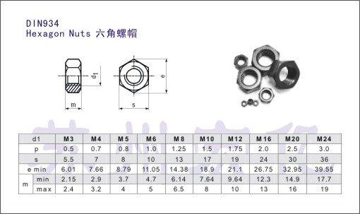 Tuercas hexagonales M3 de acero inoxidable A2 fijaci/ón fotovoltaica DIN 934 1000 unidades