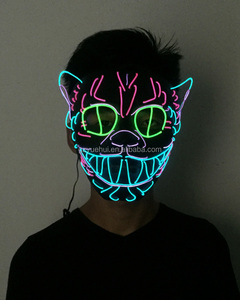 Bulksale Birthday Party Lights Led String Venetian Animal Cat Mask Funny Dress Up Accessory EL Cold Light Anonymous Kitty Mask