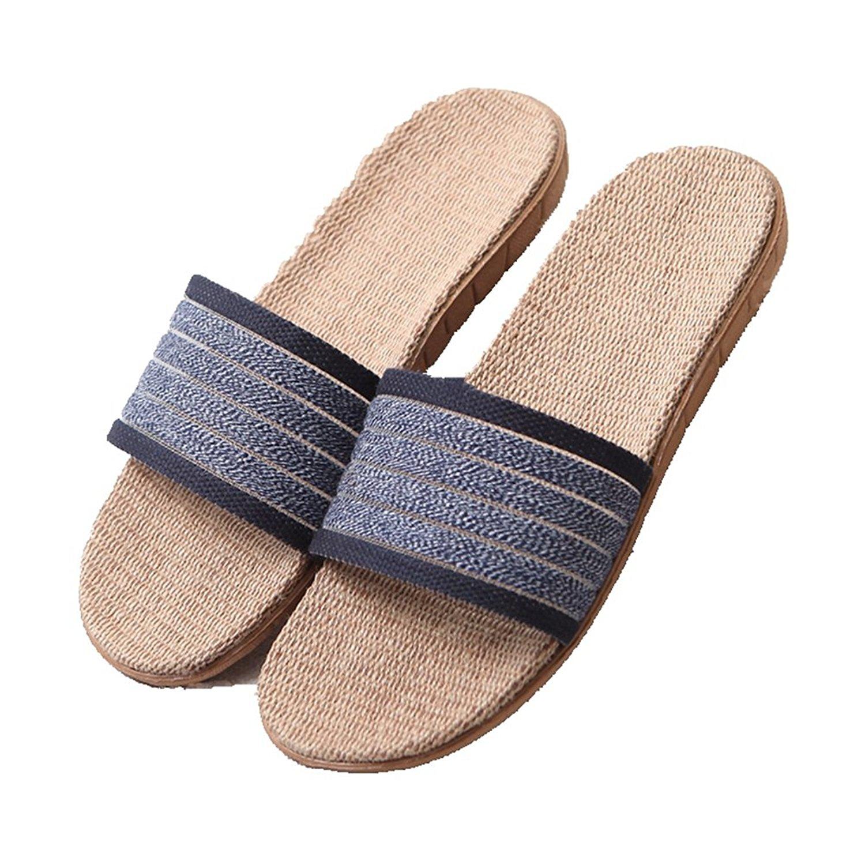 CYBLING Lightweight Slip On Linen House Slippers for Men Women Summer Open Toes Non-slip Indoor Slipper