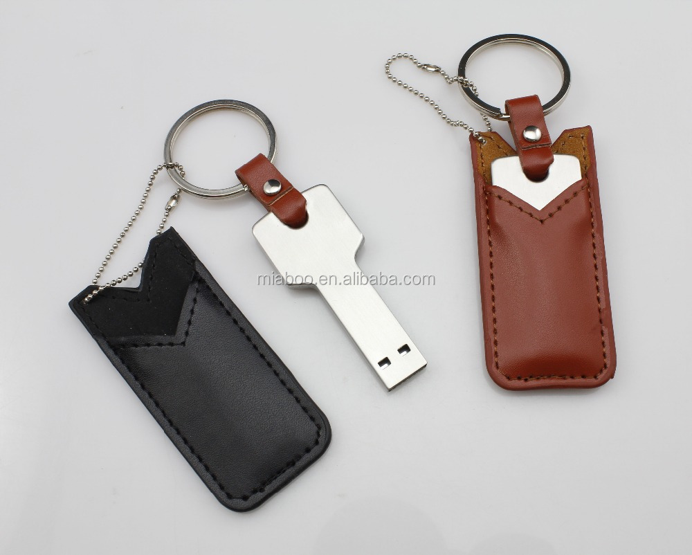 Wholesale cheap usb key 8GB thick key usb flash drive with leather case/cover