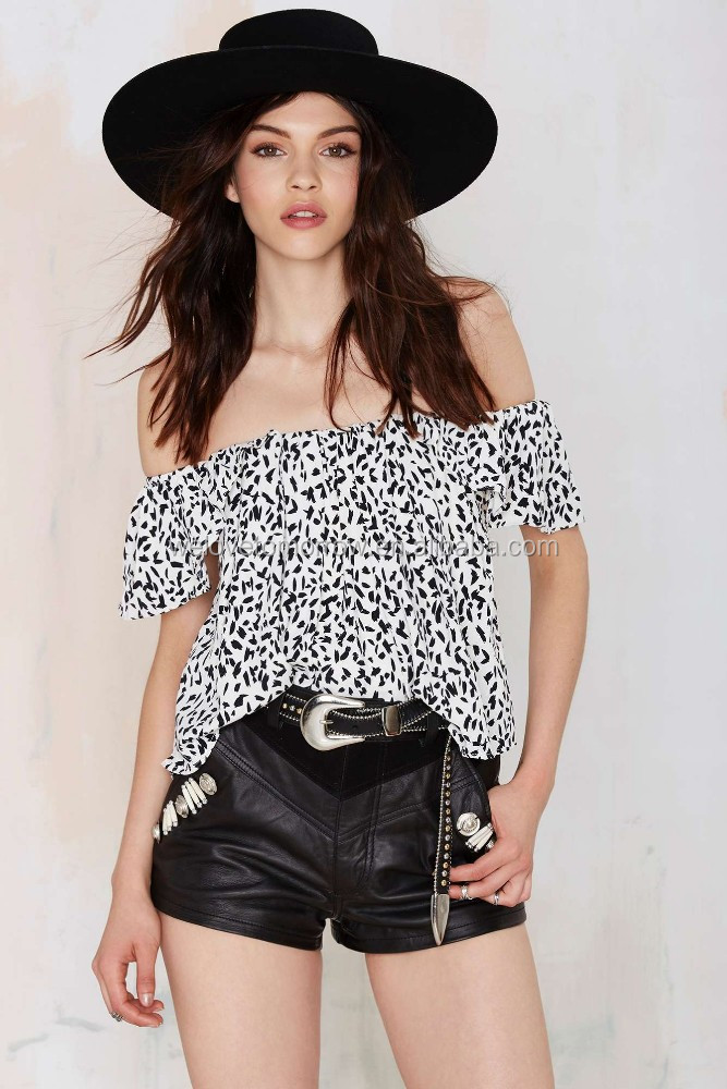 New sexy off shoulder women white with an abstract black print stretch band at neckline for wholesale