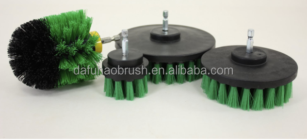 Hot sales green PP bristle material electric Disc Drill Brush/drill cleaning brush