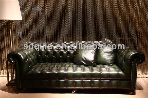 American Style Wohnzimmer Klassiker Chesterfield Sofa Leder Türkis