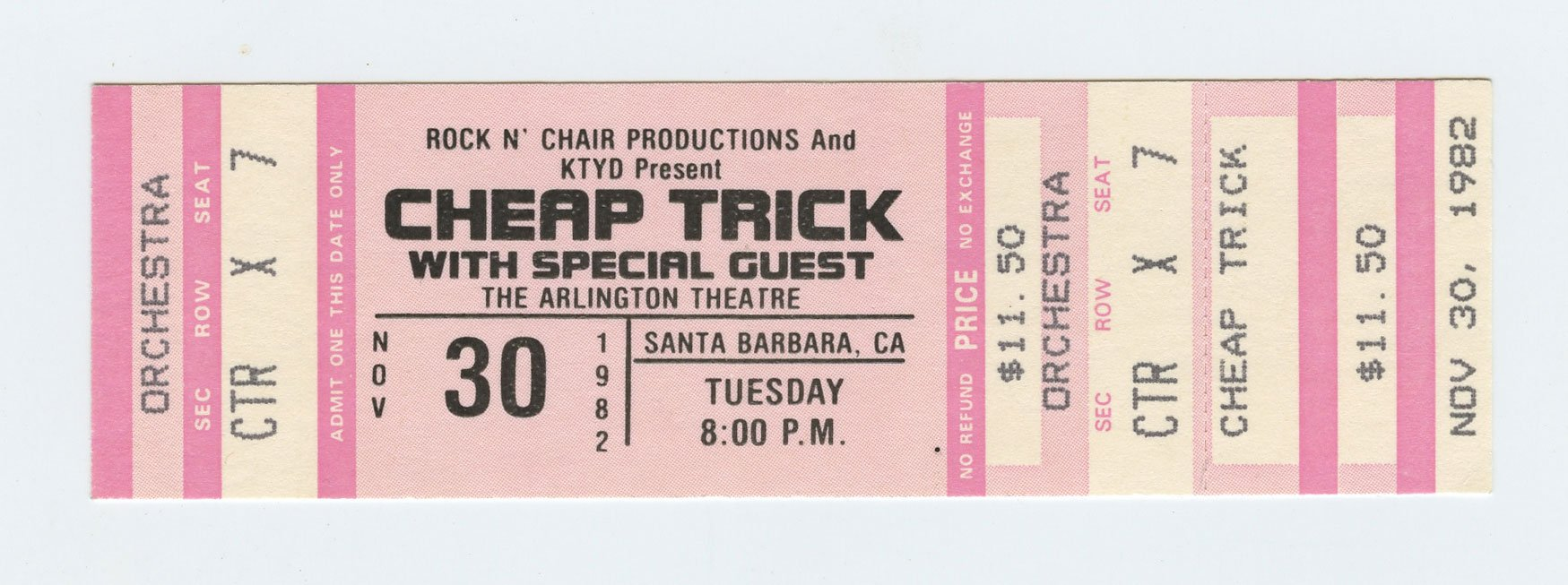 Cheap Trick 1982 Nov 30 Santa Barbara Unused Ticket